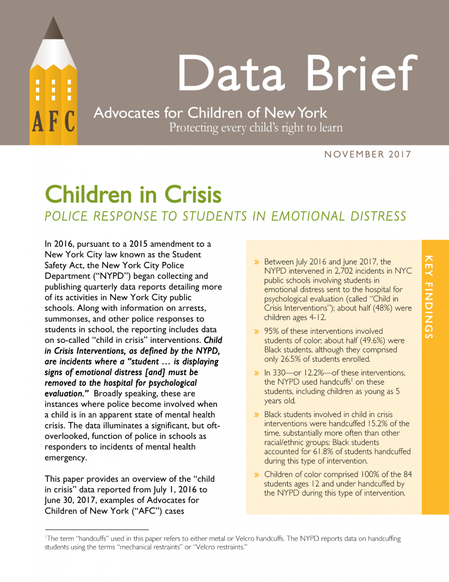 first page of data brief